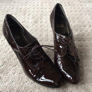 Stuart Weitzman Tailored Brown Patent Heels